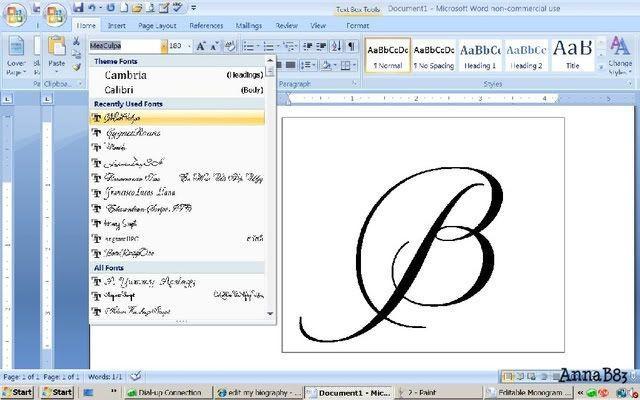 как написать красивую букву в ворде