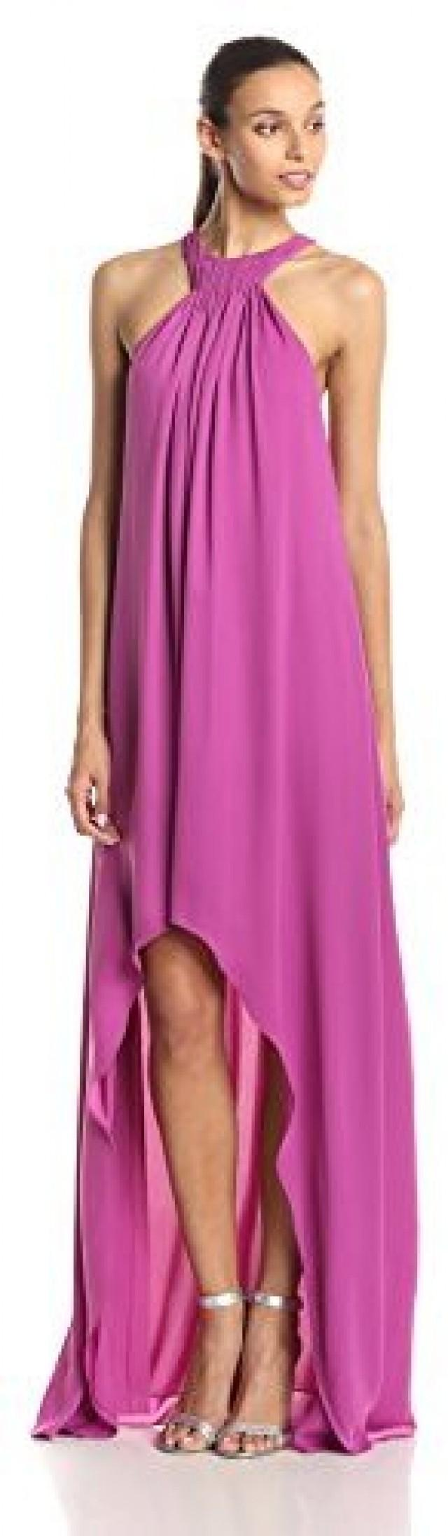 HALSTON HERITAGE Women\'s Halter Evening Dress With Asymmetric Drape ...
