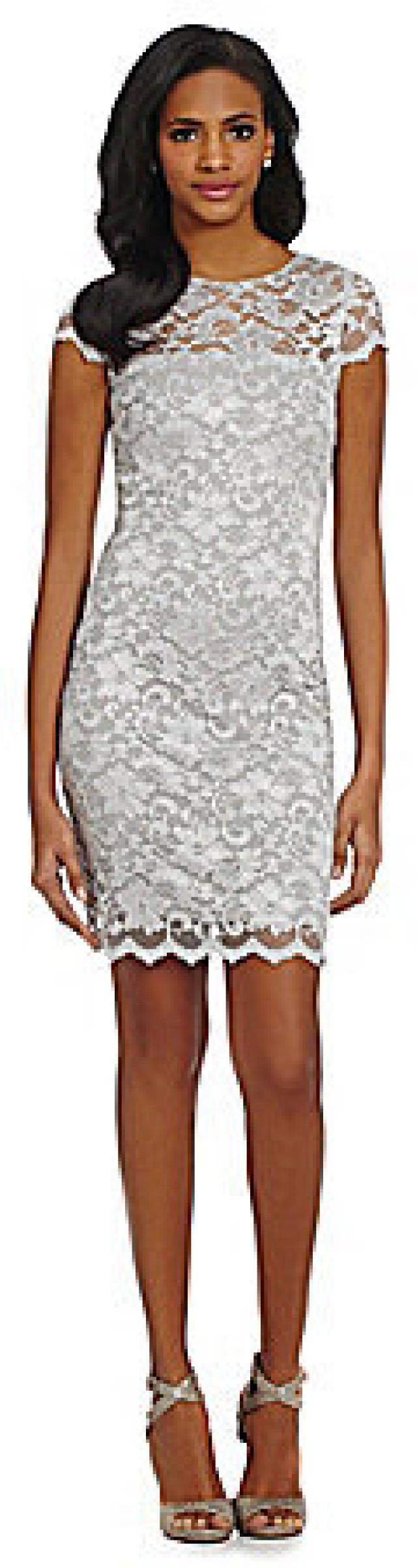 Belle Badgley Mischka Illusion-Neckline Lace Sheath Dress #2267927 ...