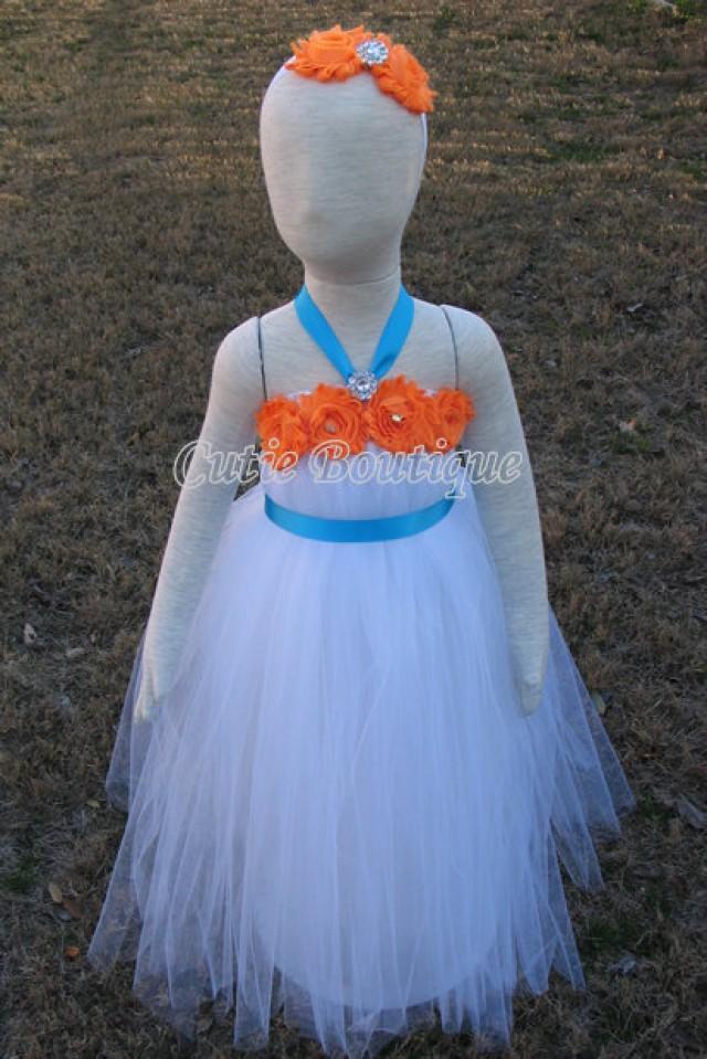 White Tutu Dress With Orange Shabby Flowers Turquoise Sash Wedding