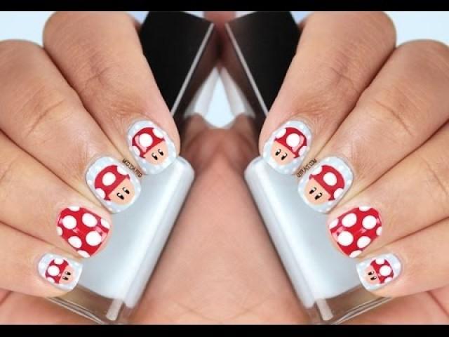 Nagel - Mario Mushroom Nail Art #2268599 - Weddbook