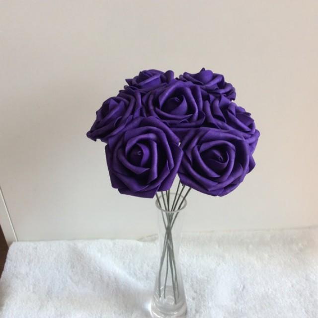100 Pcs Dark Purple Wedding Flowers Artificial Foam Roses Diameter 3 ...