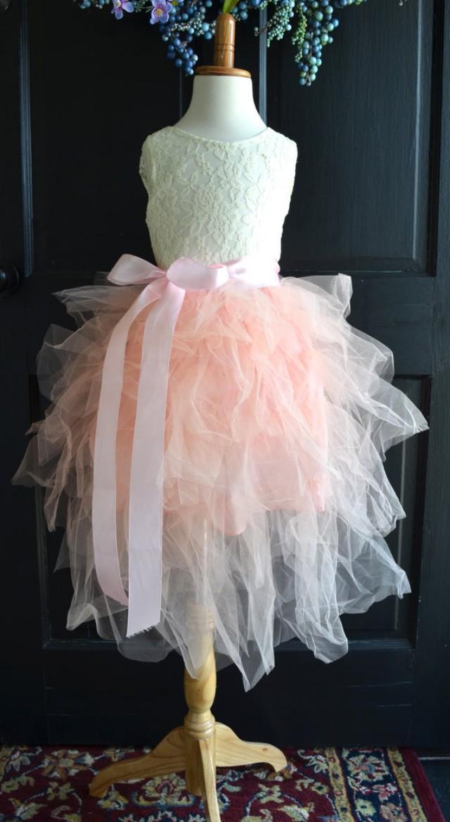 Flower Girl Blush Pink Tutu Dress, Blush Pink Long Tulle
