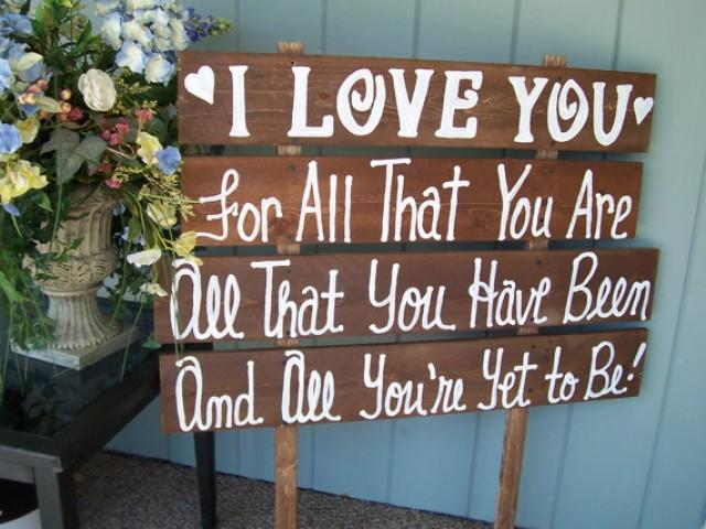 Wedding Signs I Love You Huge Rustic Wooden Beach