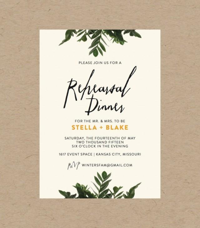 Midnight Floral Botanical Border Rehearsal Dinner Invitation  5x7 PRINTED Set of 10 Cards Envelopes  Rehearsal Dinner