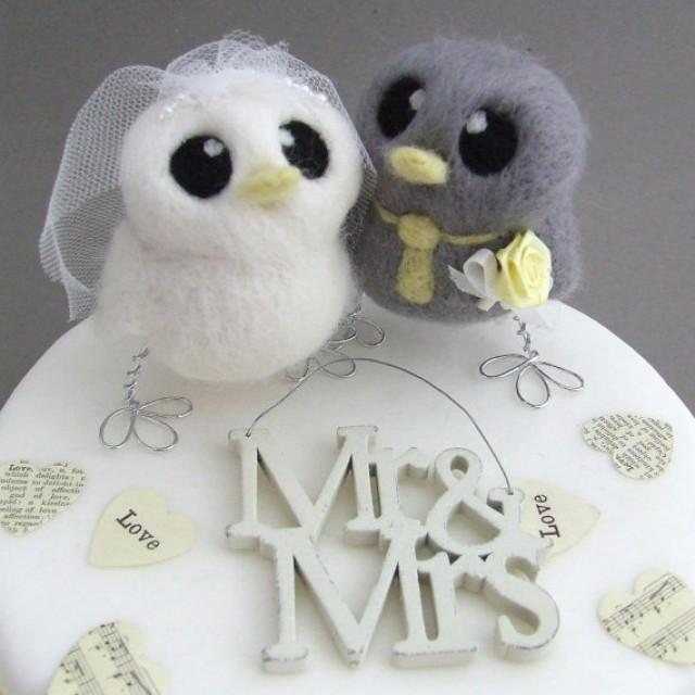 Love Birds Wedding Cake Topper Grey And Yellow Wedding Bride And ...