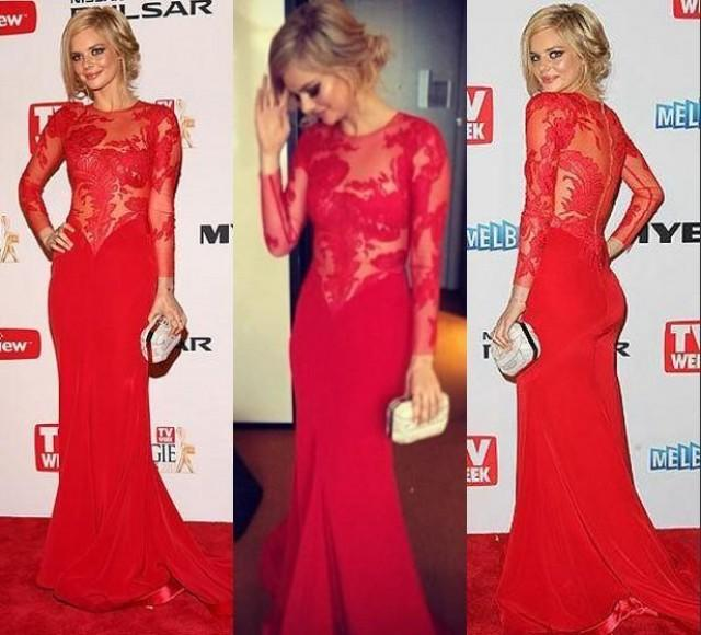 Red Lace Prom Dresses 2014 Sexy Sheer Crew High Neck