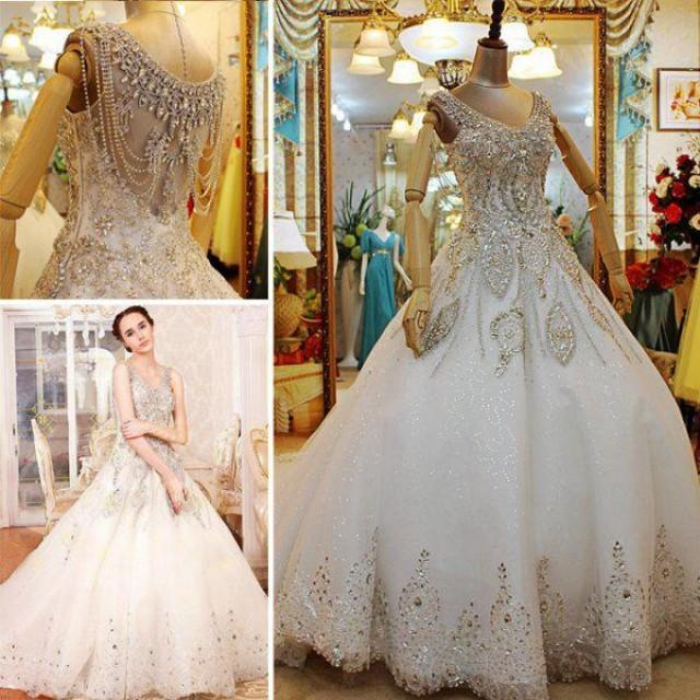 Custom made 2014 luxurious a line beaded crystal v neck for Plus size beaded wedding dresses