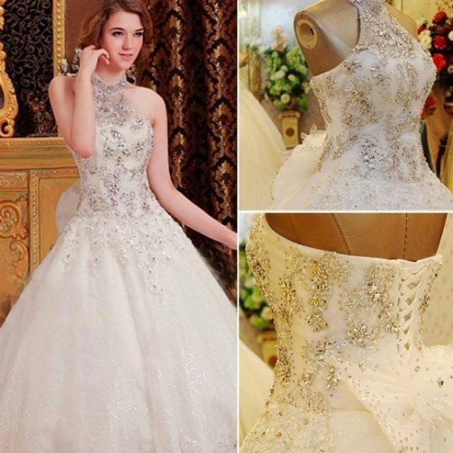Custom made 2014 a line illusion lace up beaded crystal for Plus size illusion wedding dress