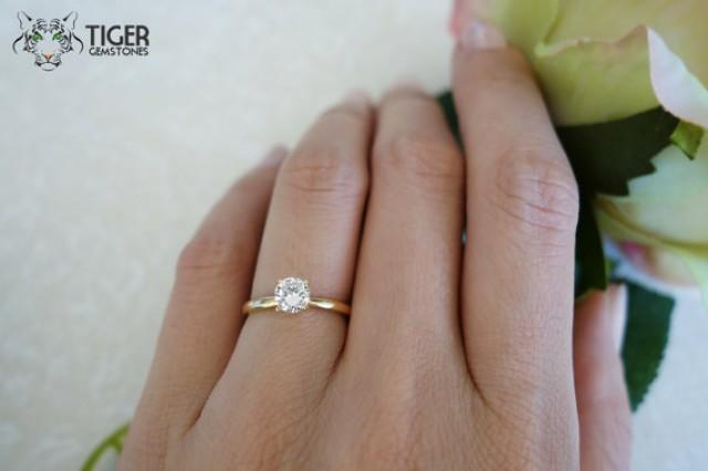 14k Solid Yellow Gold 5 Carat Solitaire Round Cut 4