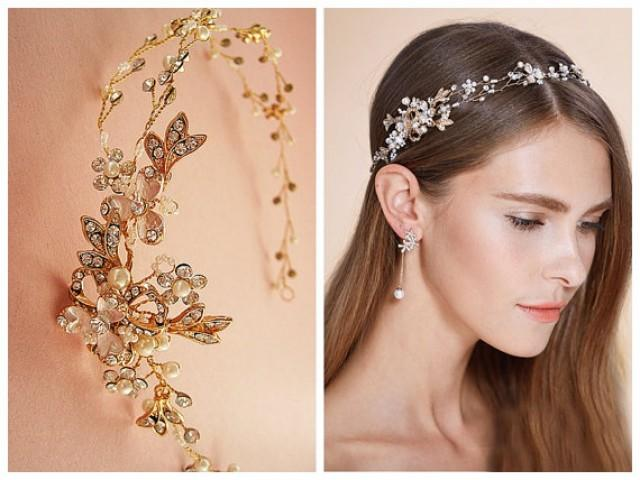 Nature Inspired Hair Vine, Rose Gold Or Silver Floral