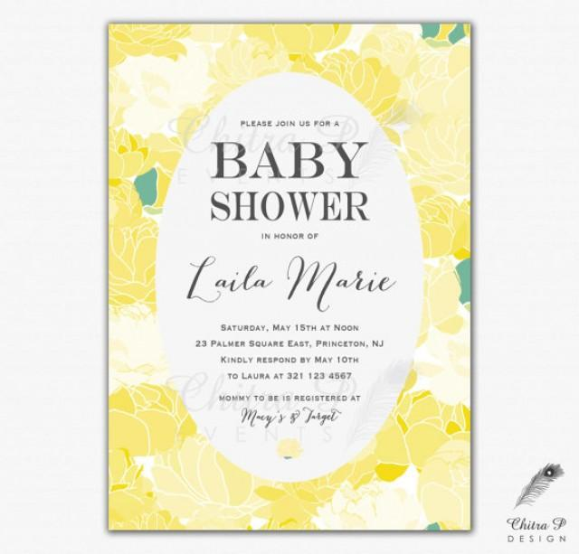Yellow Baby Shower Invitation Printed Or Printable