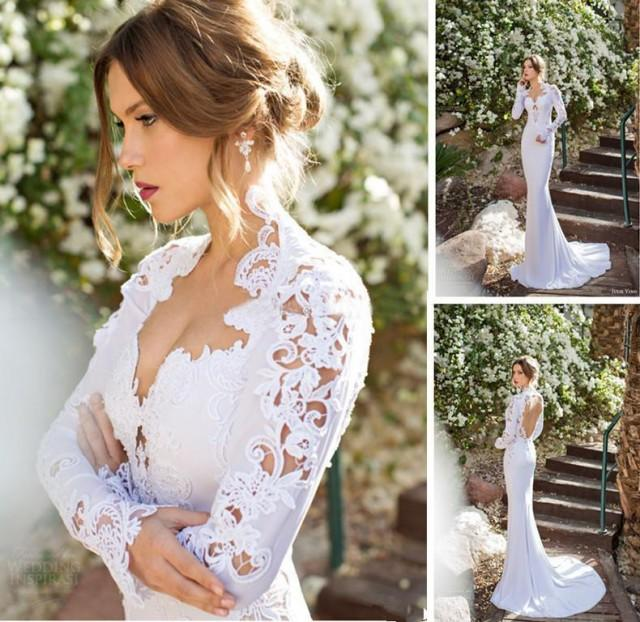 2015 new high neck long sleeve wedding dresses appliques for Sexy summer wedding dress