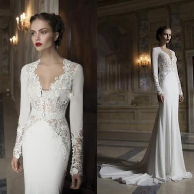Vintage A Line Wedding Dresses With Sleeves Garden Bridal Gowns Deep V Neck Appliques Lace Sweep Train Cheap Bride Dress Online
