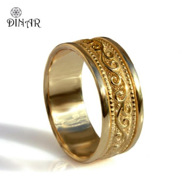 Patterned Gold Band Ring