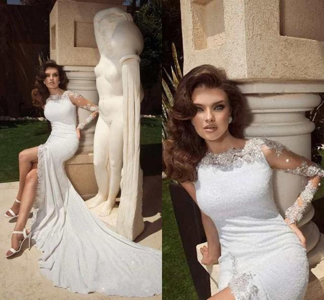 2015 Sexy Wedding Dresses With Long Sleeves Scoop Sequins