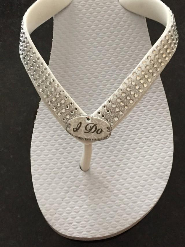 989237d8b8c WEDDING Flip Flops!Bridal Flip Flops Wedges. I DO Bridal Shoes.Beach Wedding .Bling Flip Flops.Rhinestone Shoes.Bridal Shoes.Wedding Ideas.