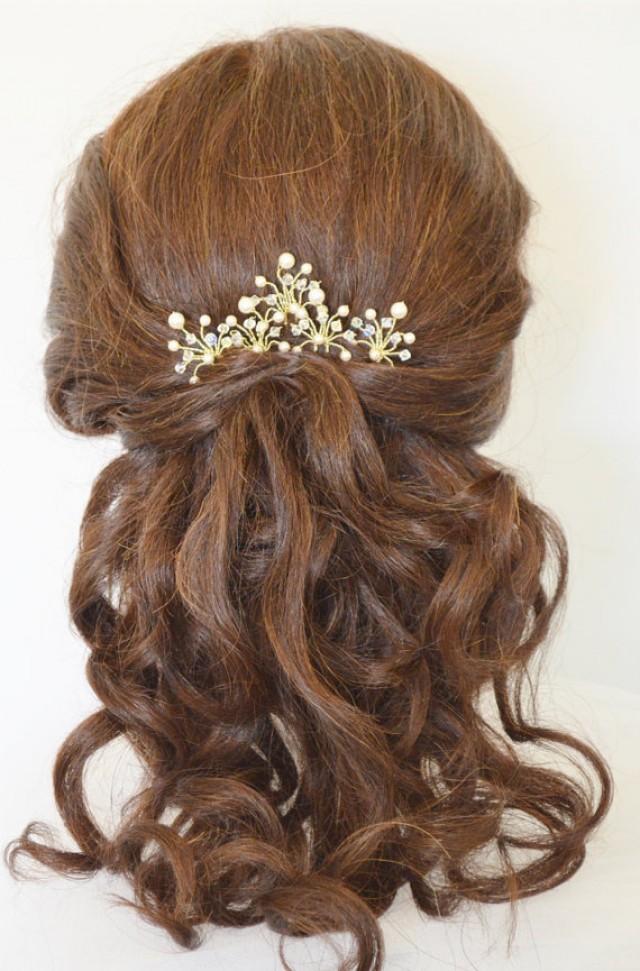 Pearl Crystal Bridal Hair Pins, Customised Wedding Hair ...