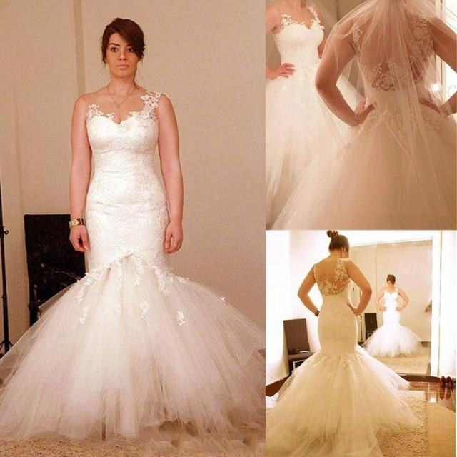 Lace Mermaid Wedding Gown With Tulle Skirt: 2015 Wedding Dresses Sheer Neckline Appliques Detachable