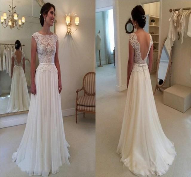 2015 elegant a line wedding dress with backless bateau for Shop online wedding dresses