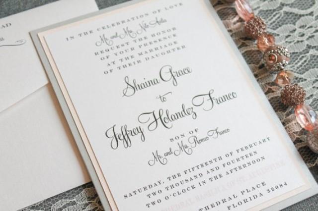 Simple Vintage Wedding Invitations: Blush Pink And Silver DIY Classic Formal Pocket Wedding