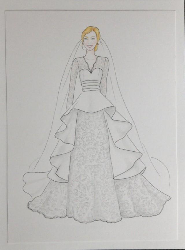 Custom Bride Portrait With Veil Original Drawing Wedding Anniversary Gift In Gown Sketch 2271565