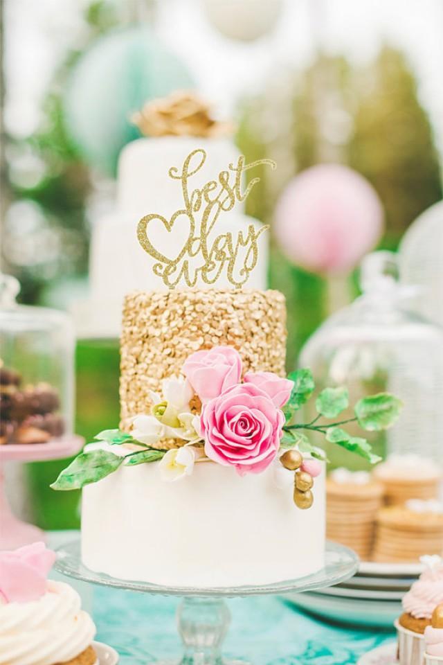 Wedding Cake Topper Best Day Ever Floating Topper Glitter Wedding ...