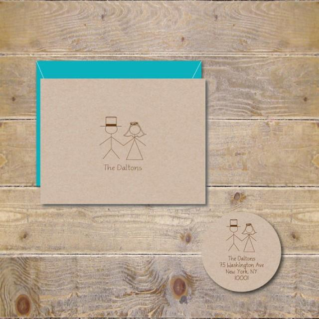 Stick Figure Wedding Thank You Cards Figures Bridal Shower Rustic Recycled Bride Groom 2272214