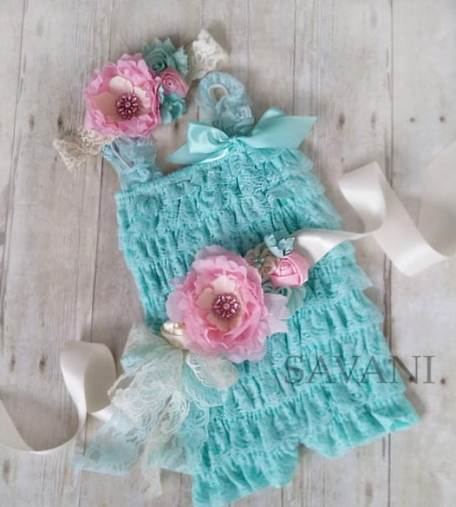 64eb7d913 Baby lace romper,Vintage shabby chic lace set, 3 pieces aqua and pink lace  romper set. , headband and belt, Baby Girl Photo Prop #