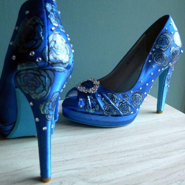 Wedding Shoes , Sapphire Blue Shoes, Blue Peep Toes , Blue