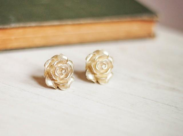 Gold Rose Earrings Post Stud Surgical Steel Posts Bridal Fl Accessories Shimmer Golden Flower Jewelry 2273609