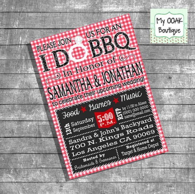 Couples Shower Invitation Engagement I Do BBQ Invitation Red Gingham  Chalkboard Bridal Shower Invite Digital Print Your Own Invitation 13191  #2273623 - ...
