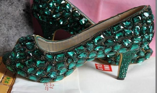 Wedding Shoes Emerald Green Swarovski Crystal Rhinestone