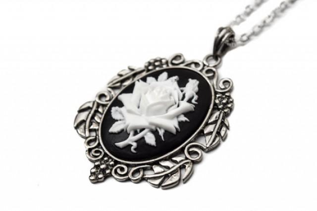 985ecef6ea2 White Rose Cameo Necklace - Gothic Wedding Jewelry #2274177 - Weddbook