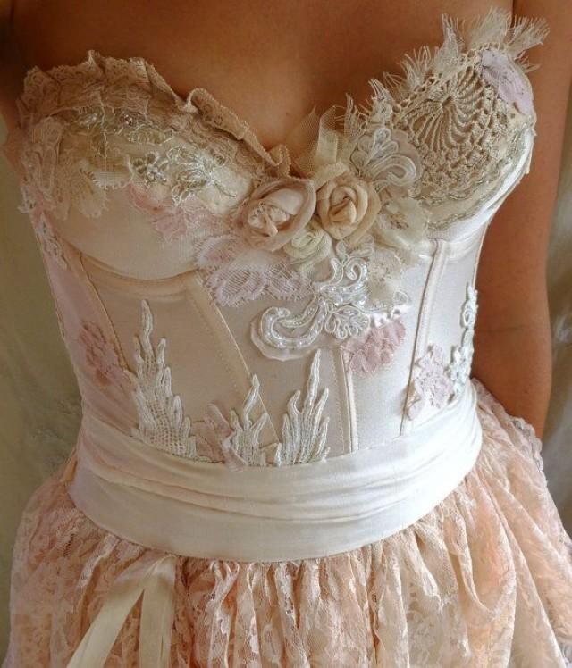 Pearl Bustier Gown... Wedding Dress Boho Whimsical Fairy