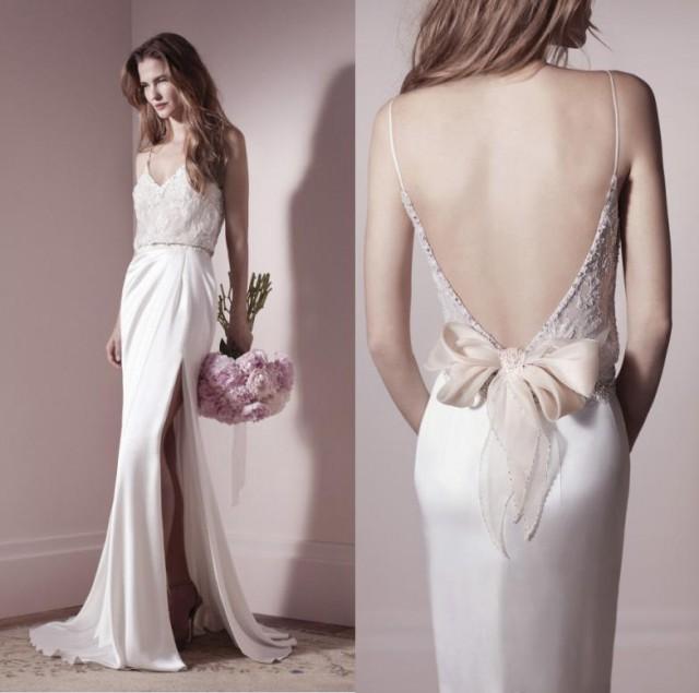 2014 new lihi hod designer spaghetti backless wedding for Backless wedding dresses online