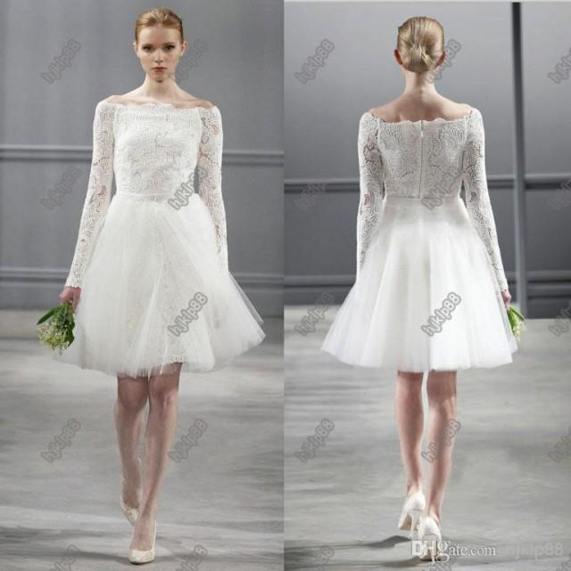 Vintage Lace Tea Length Beach Wedding Dress Short Sleeves: Vintage Lace Long Sleeves Monique Lhuillier Spring 2014