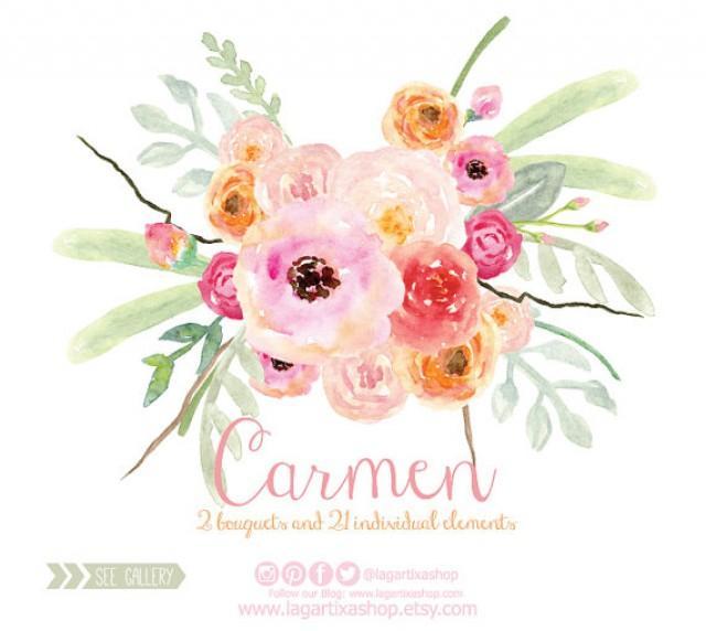 Watercolor Clipart, Floral PNG, Wedding Bouquet, Arrangement ...