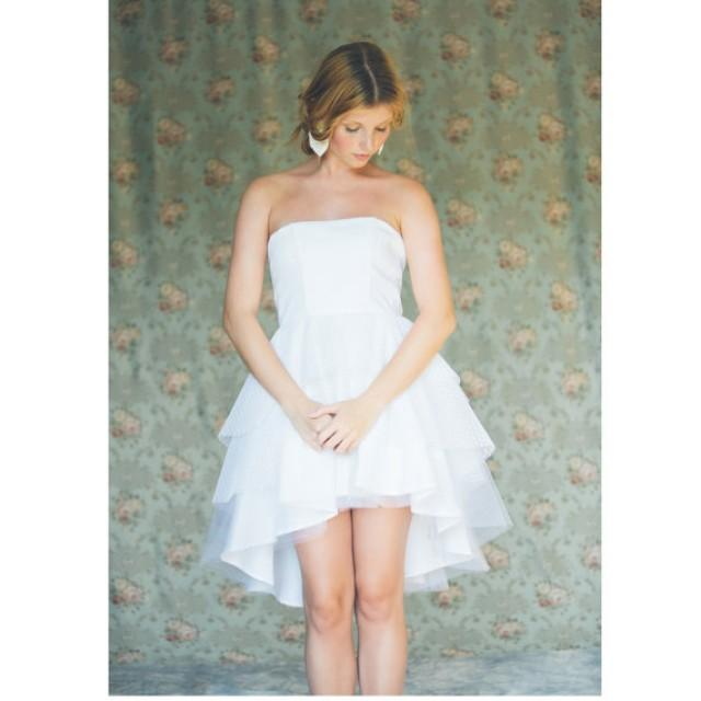 Short White Strapless Wedding Dress, Tiered Asymmetric Tulle Wedding ...