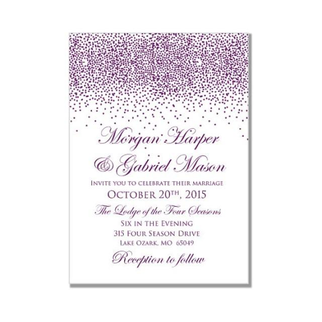 printable wedding invitation purple wedding purple sparkles