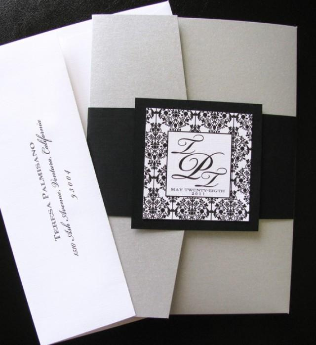 Wedding Invitation Folders With Pocket: DIY Black And White Damask Pocket Folder Wedding