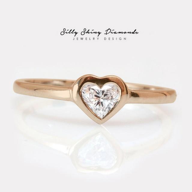 Rose Gold Heart Shape Diamond Solitaire Bezel Setting Engagement