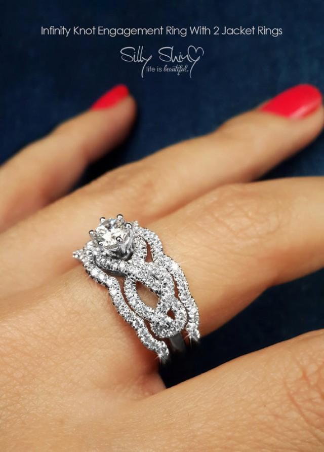 Infinity Engagement Rings Knot Ring With 2 Matching Diamond Bands Wedding Set Unique 2276065 Weddbook