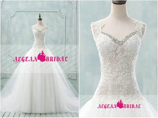 Wedding Dresses Ball Gown Sweetheart: RW294 See Through Lace Wedding Dress Sequin Rhinestone