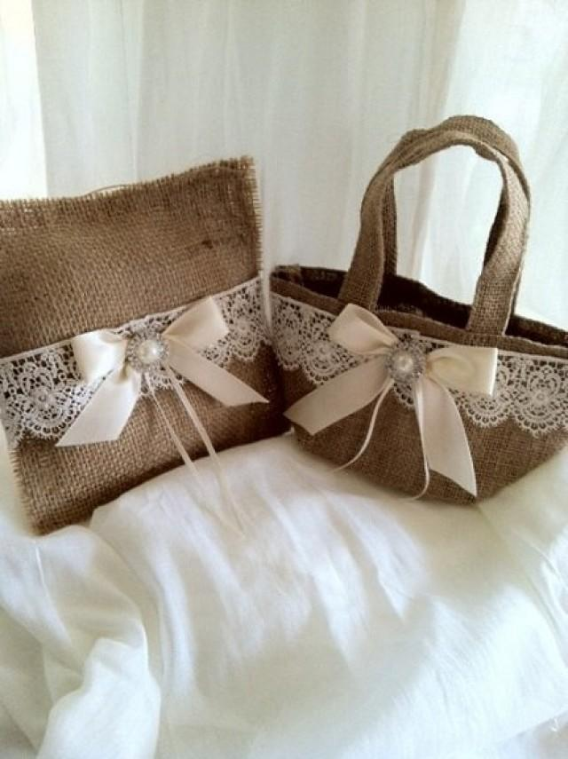 Flower girl basket burlap jute ivory white set ring bearer for Where to buy wedding accessories