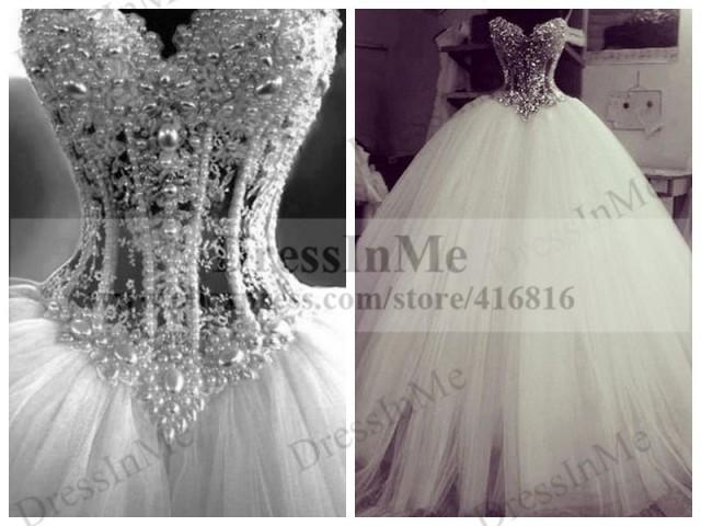 Buy real brides heavily pearl beaded see for Puffy wedding dresses with diamonds