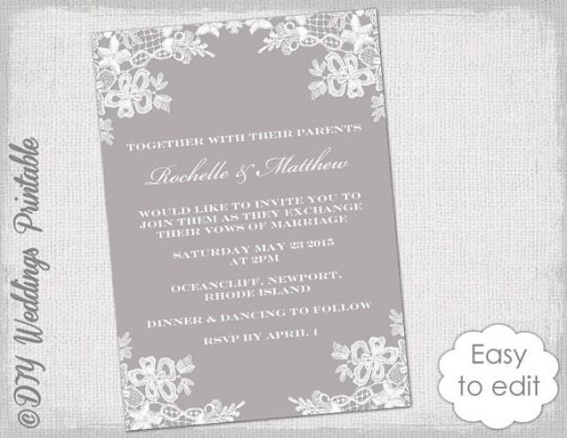 "Wedding Invitations Software Free: Wedding Invitation Template DIY ""Floral Lace"" Wedding"