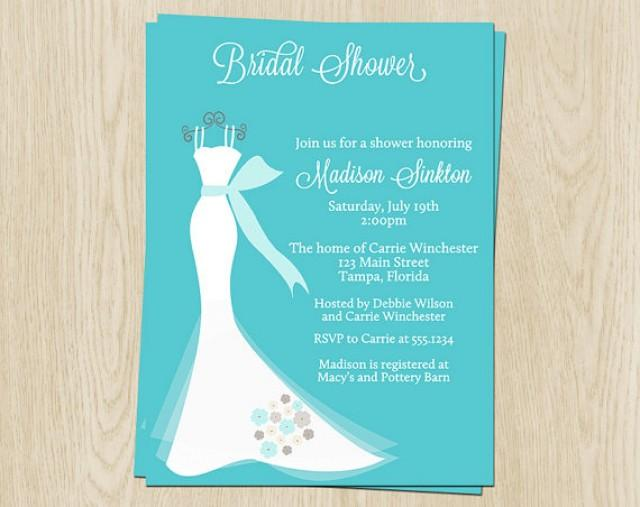Wedding Gown Bridal Shower Invitations Aqua Teal Blue