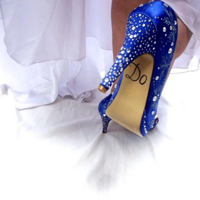 Sapphire Blue Reserved Wedding Shoes For Bridal AmberSnowflakes K1JFcTl