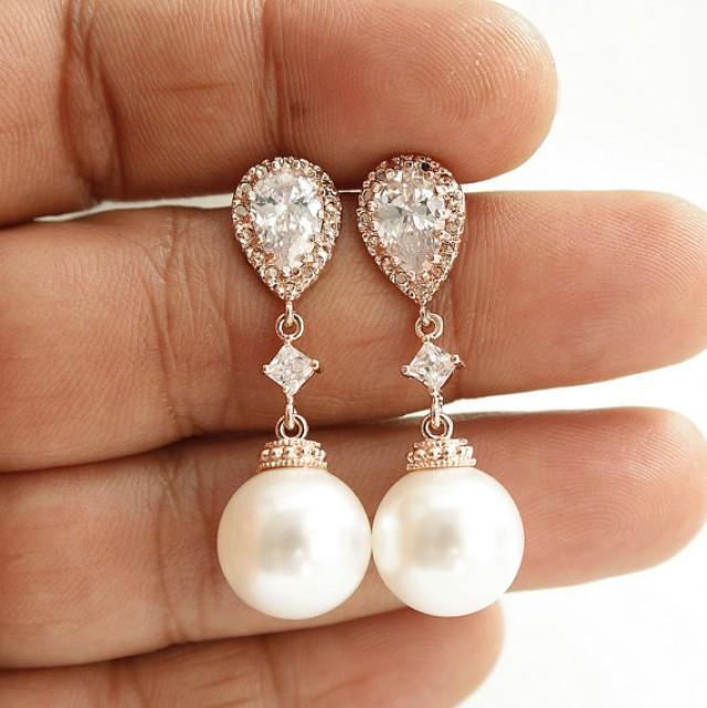 pearl rose gold earrings wedding jewelry cubic zirconia pearl drop bridal earrings white or. Black Bedroom Furniture Sets. Home Design Ideas